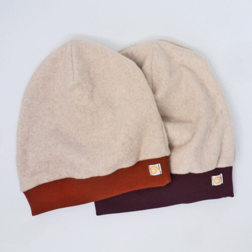 Mütze Fleece Pur Modell Rost und Violett