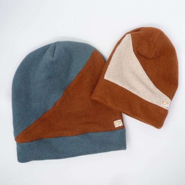 Mütze aus weichem Fleece Zweierlei für Groß und Klein